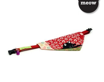 GOOOD Cat Collar   Center Scarf - Autumn Kitty   100% Rainbow Floral Fabric   Safety Breakaway Buckle