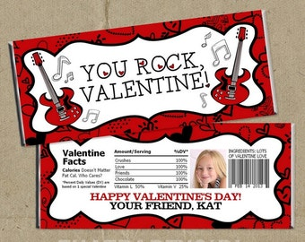 Valentine Candy Bar Wrappers / You Rock Valentine / Girls Rock Valentines / Boys Rock Valentines / Rock Star Valentines / Digital File