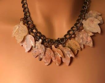 Vintage Rhodonite Leaf Necklace