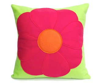 Pink Flower Power Pillow Cover Eco Felt - 18 inches - Neon Green and Shocking Pink