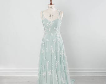 Snowdrop dress - Floral embellished lace and pale green silk wedding dress
