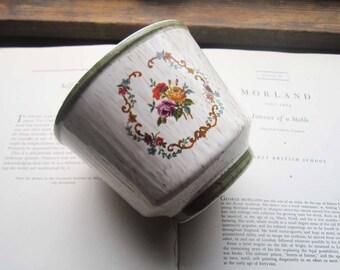 Vintage Flower Pot, Vintage Planter/Vase,Neutral Colors, Colorful Flowers, Retro 1960's 70's Planter, Embroidery Motif, Textured Pottery,