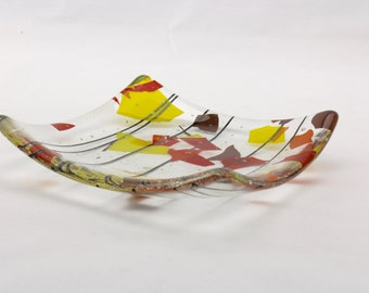 Multi-color glass candy dish - Fused glass ring holder - Glass trinket dish - Glass candle holder - Glass soap dish - Glass spoon rest