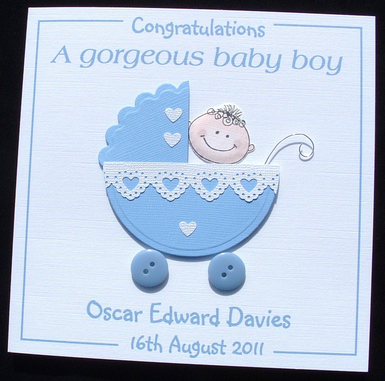 Personalised handmade new baby boy card congratulations a new zoom kristyandbryce Images