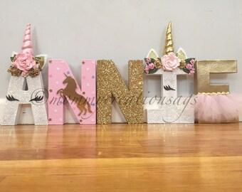 UNICORN LETTERS/ unicorn party/ unicorn decorations/ unicorn birthday/ unicorn favors/unicorn baby shower/unicorn center pieces