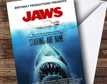 Spoof Jaws Shark Movie Poster Funny Personalised Birthday Card