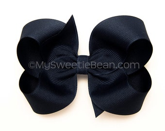 "Light Navy Boutique Bow, 4"" Hair Bow, Girls Hairbow, Basic Bow, Back to School Bow, School Uniform Bow, Navy Bow for Girls"