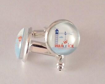 Warwick Cufflinks in silver tone metal,  14 mm, with Blue velvet gift bag! JW.ORG. #406