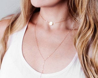 Rose Gold Initial Disc Choker, Coin Necklace, Personalized Choker Necklace, Short Layered Choker, Letter Disc Necklace, Short Necklace Gold