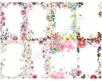 40 Pack Floral Borders Flowers PNG Transparent Clipart Overlay Rectangle Frame Digital Download