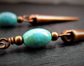 Antiqued Copper Spike and Turquoise Earrings