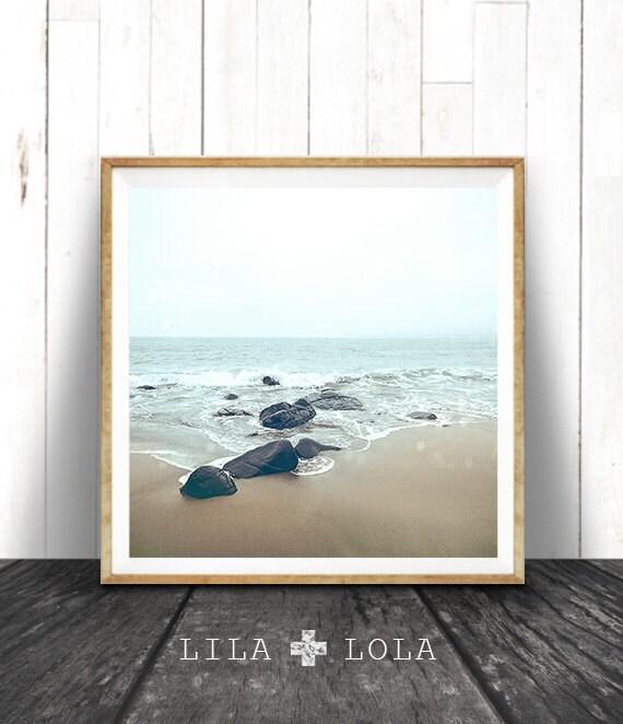 Beach Wall Art Print, Ocean Water, Coastal Decor, Square Printable, Digital Download, Colour Photography, Minimalist Style, Moody Ocean