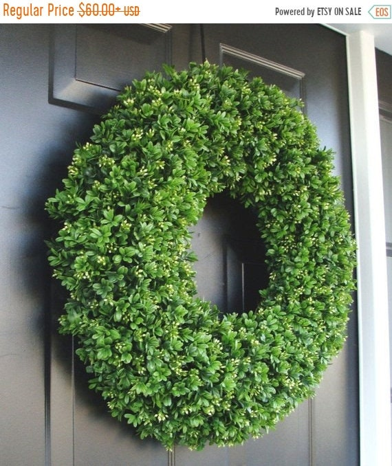 SUMMER WREATH SALE Realistic Artificial Boxwood Wreath- (14 to 30 inch Sizes available online)- Window Wreath- Holiday Window Decoration
