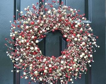 SPRING WREATH SALE Red and Cream Berry Wreath- Valentines Day Wreath- Door Wreath- Year Round Wreath- Christmas Wreath-Winter Wreath-Candy C
