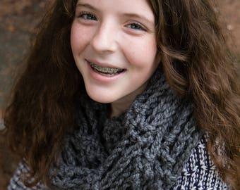 Gray Handmade Crochet Infinity Scarf