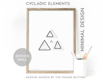 Triangles wall print, canvas 50x70cm, poster scandinave, chic décor, living room wall decor, home office poster print