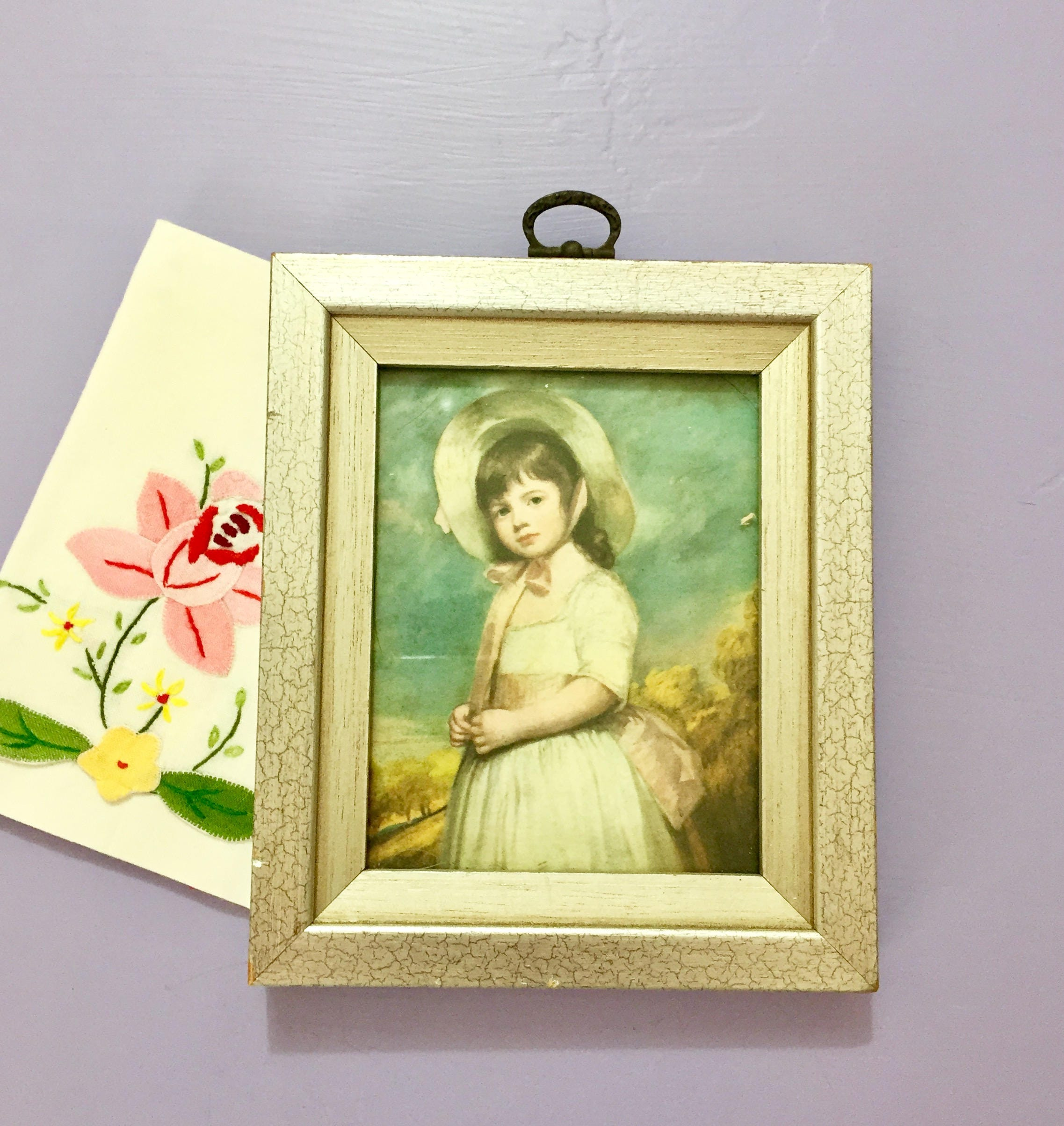 Vintage Edwardian Little Girl Portrait Print, Glass Framed Miniature ...
