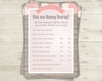 What Is Mommy Wearing Game Printable Baby Shower Games, Shabby Baby Shower,  Girl Baby