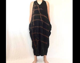 Ladder Sun Dress, Two sizes OS and PLUS,  long black cotton sundress, hand drawn, OOAK, wearable art dress, loose fitting dress, zen art