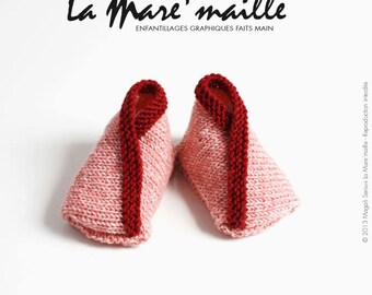 Knit Merino Wool very soft coral mottled and Red baby booties knitted hand de La Mare' mesh