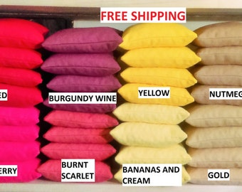 Set of 4 Corn Hole Bags Filled    40+ Colors    Free Shipping   Priority Mail