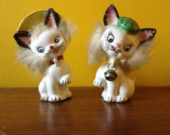 Vintage Fluffy Kitty Cat Shaker Set