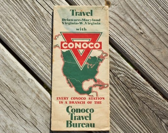 Conoco Travel Bureau road map from 1936 Delaware Maryland Virginia West Virginia