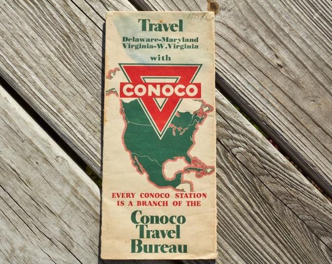 Conoco Travel Bureau road map from 1936 Delaware Maryland Virginia West Virginia