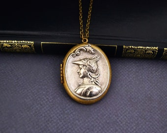Vintage Locket Necklace Athena Goddes of Wisdom Necklace Art Nouveau Long Pendant Necklace Large Locket Big Locket Oval Locket Necklace