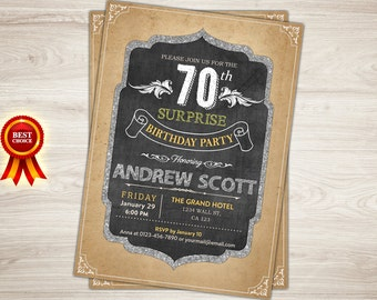Surprise 70th Birthday Invitation. Surprise Birthday Party Invitation. Vintage, Retro. Adult birthday Invitation. Printable birthday invite