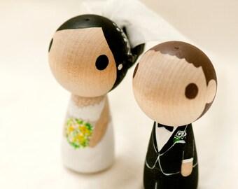 Customize Wedding Cake Topper  - - -  Kokeshi Peg Doll