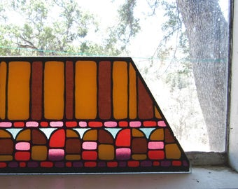 Faux Stained Glass - Vintage Trapezoid Glass - 1960s Retro Glass Piece - DIY Repurposing Brown Yellow Mod Print Glass