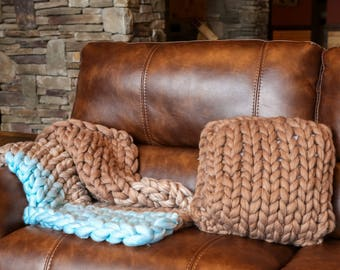 Merino wool chunky knit throw