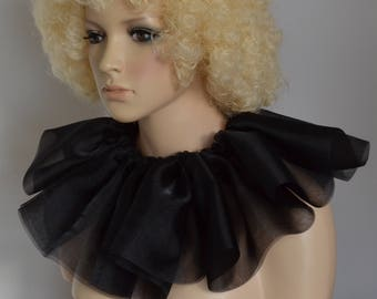 Fancy dress WITCH COLLAR black neck ruff/ruffle