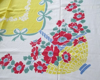 Printed Cotton Tablecloth Vintage Yellow Blue Baskets Red Poppies Green Bows 72 x 66