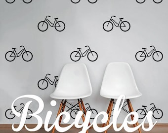 Bicycles Wall Decal Pack Modern Cycling Geometric Pattern Vinyl Wall Stickers WAL-2222  sc 1 st  Etsy : bicycle wall decal - www.pureclipart.com
