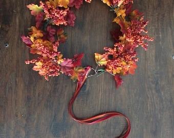 Adjustable Autumn Renaissance Flower Headband With Ribbons