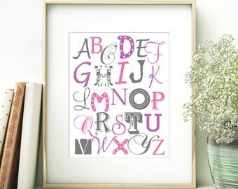 8x10 - Pink, Purple & Gray Alphabet Wall Art - (JPEG Digital File) Instant Download - You Print- You Frame