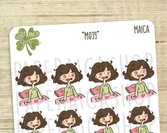 Overslept Planner Stickers, Wake Up Stickers, Late Stickers, Funny Stickers, Sleep Stickers, More Sleep Stickers, Activity Stickers | M039