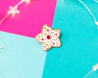 SECONDS Donut Star Enamel Pin - Donut Pin - Donut Lover - Doughnut Pin - Food Pin - Rose Gold Pin - Kawaii Pin - Donut Accessory - Cute Pin