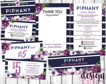 Piphany Marketing Kit, Thank You Care Card Business Card Piphany Cash, Small Business Starter Pack Set, Navy Stripe Purple Floral, PRINTABLE