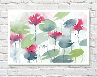 Water Lilies Art Print - Watercolor Painting by Artist DJ Rogers - Wall Decor