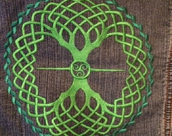 Embroidered Denim Jacket, Celtic Tree of Life design
