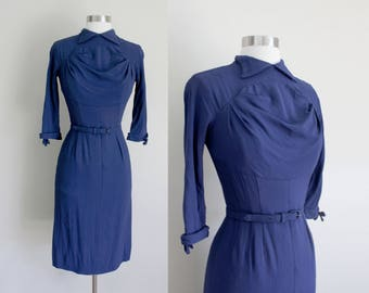 1950s Navy Wiggle Dress | Ruched Dress | Franklin Original | Extra Small