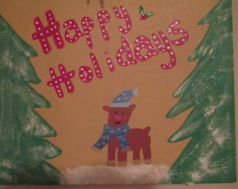 Hand Painted Happy Holidays Reindeer Canvas Christmas Holiday Sign