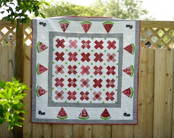 Watermelon Throw quilt, Ant Lap Quilt, Summer Picnic Watermelon Quilt with ANTS!
