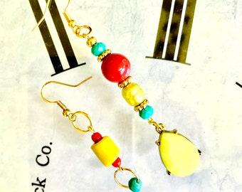 Earrings, handmade, dangle earrings, gifts for her, statement earrings, beaded earrings, beaded dangle, beaded statement, asymmetrical