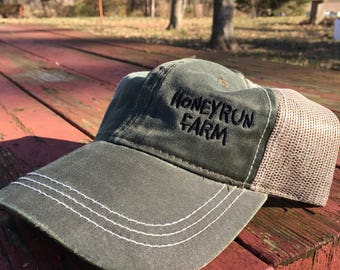 Honeyrun Farm Hat - unstructured olive green trucker cap