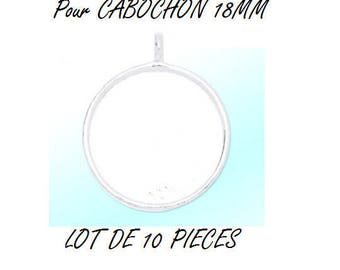 Set of 10 blank cabochon 18mm silver color (W28) pendant
