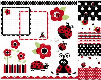 Clipart Combo - Red Ladybugs Clip Art / Digital Clipart - Instant Download